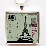 Vintage Paris Eiffel Tower Paris Postcard Glass Tile Pendant Necklace with Chain