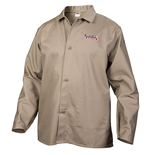 Lincoln-Electric-Khaki-Large-Flame-Resistant-Cloth-Welding-Jacket