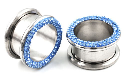 Pair of 316L Laminated Light Blue Rhinestone Tunnel Ear Piercing Plugs - 00g