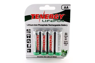 1 Card: 4pcs Tenergy Solar Tech AA 3.2V 400mAh LiFePO4 Rechargeable Batteries