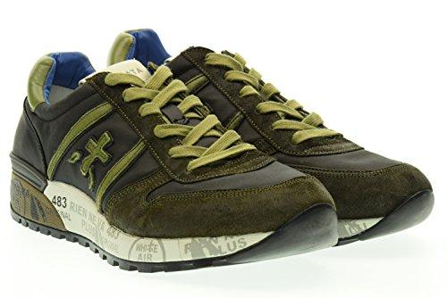 PREMIATA uomo sneakers basse LANDER 1658 42 Nero-verde