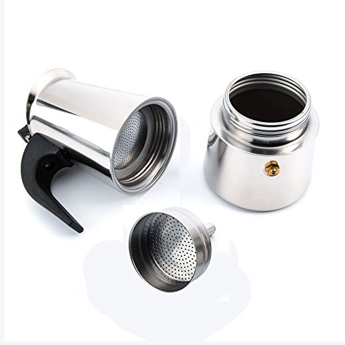 6-Cup Stovetop Espresso Maker Italian Moka Coffee Pot - Best Polished Stainless Steel Coffee ...