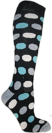 Zest Ladies 1 Pair Black Spot Thermal Ski Socks UK Size 6-8
