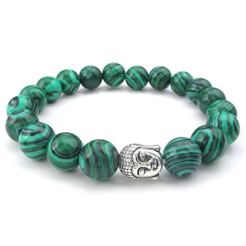 KONOV Natural Energy Stone Beads Gemstone Malachite Mens Womens Bracelet, 10mm Buddha Mala, Green