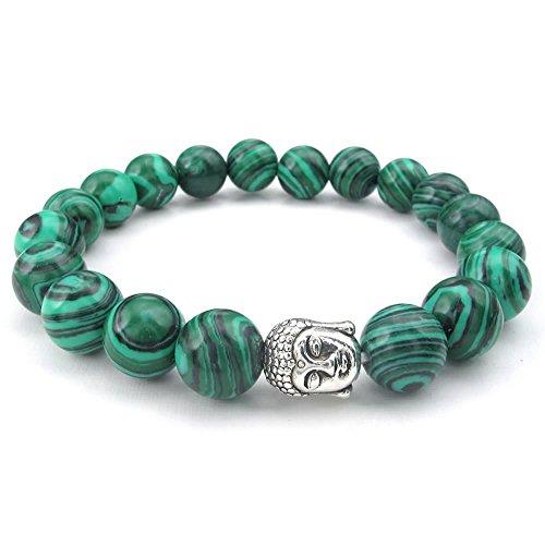 KONOV Natural Energy Stone Beads Gemstone Malachite Mens Womens Bracelet, 10mm Buddha Mala, Green