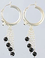 Exotic India Black Onyx Hoop Chandeliers - Sterling Silver