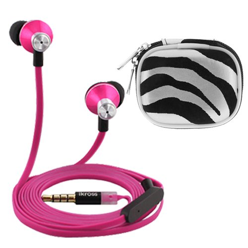 Ikross In-Ear 3.5Mm Noise-Isolation Stereo Earbuds With Microphone (Hot Pink / Black) + Zebra Accessories Carrying Case For Apple Iphone Ipod Ipad, Blackberry, Htc, Lg, Motorola, Nokia, Samsung, Cellphone Tablet Mp3 Player Ebook And More