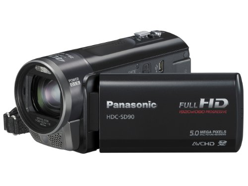 Panasonic SD90 Full HD 1920x1080p (50p) 3D Ready Camcorder - Black (SD Card Recording, x40 Intelligent Zoom, x26 Optical Zoom, 28mm Wide Angle Lens & iA + Face Recognition & New Hybrid OIS)