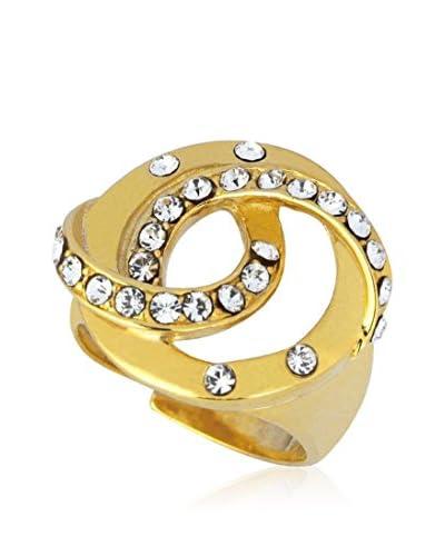 ART DE France Ring Adjustable vergoldetes Metall 24 kt/weiß