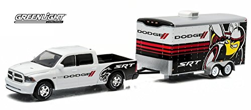 1:64 GreenLight *HITCH & TOW 3* SRT Dodge Ram Pickup w/Enclosed Car Trailer NIP (1 18 Enclosed Trailer compare prices)