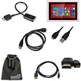 EEEKit 4-in-1 Cable Kit for Nokia Lumia 2520 Tablet, Micro USB 3.0 Male to USB A 2.0 Female OTG Cable + USB 3.0 A Male to Micro USB Male Cable + Micro HDMI to HDMI Cable + EEEKit Gift Pouch Bag for Free(6.5*4 Inch)