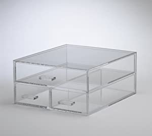 Clear Acrylic Cosmetic Organizer, 1 Large & 2 Small Drawers