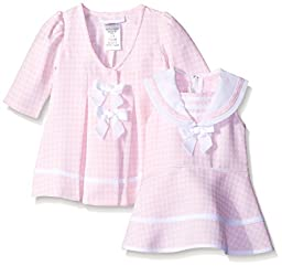 Bonnie Baby Baby-Girls Check Dress and Coat Set, Pink, 24 Months