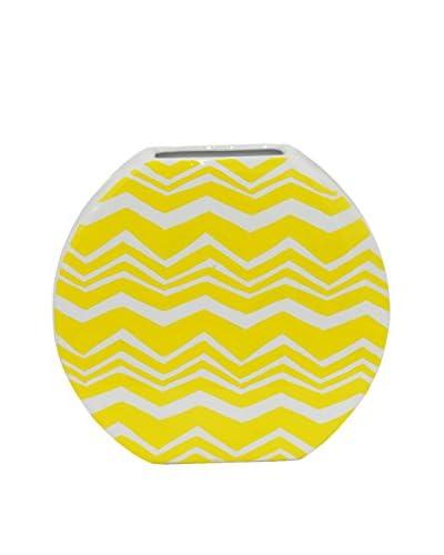 Three Hands Short & Wide Chevron Ceramic Vase, Yellow/White
