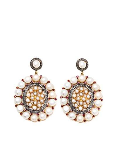 Lori Kassin Pearl Border Gold Ruby Earrings