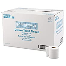 "Boardwalk 6145 4"" Length x 3"" Width, 2-Ply Standard Roll Bath Tissue (Case of 96 rolls, 500 sheets per roll)"