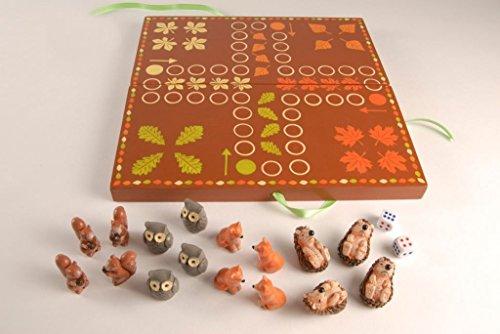 Brettspiel – Igel ärger dich nicht – Holz Spiel mit Tierfiguren Herbstspiel