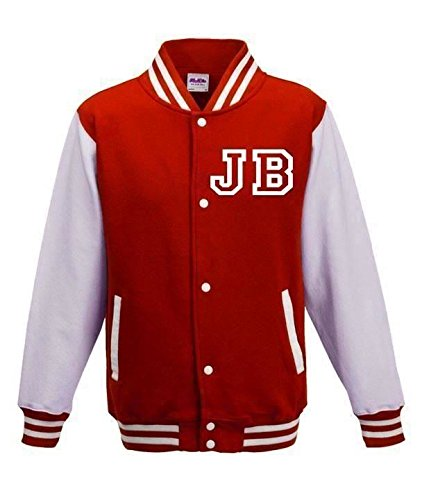 Justin Bieber Fan American College Baseball Stile Varsity Giacca Red Medium