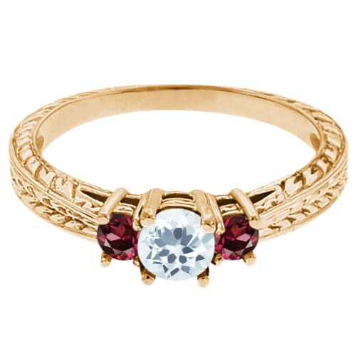 0.57 Ct Round Sky Blue Topaz Red Rhodolite Garnet 18K Yellow Gold 3-Stone Ring