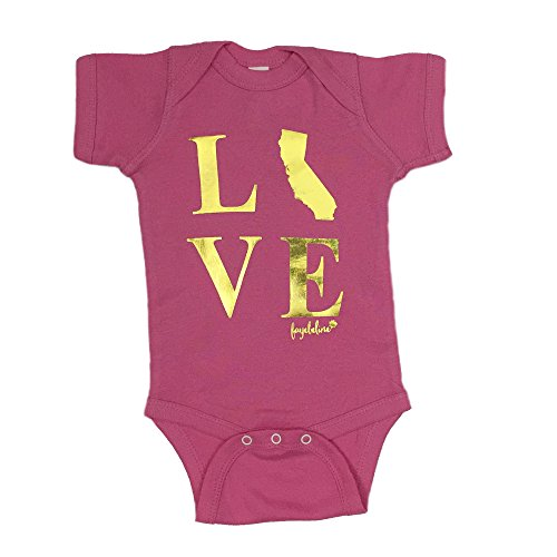 "Fayebeline Boutique Quality Onesie Baby Gift ""California Love"" Premium Foil Printed Bodysuit, Raspberry, 6-12 Month, Girl"