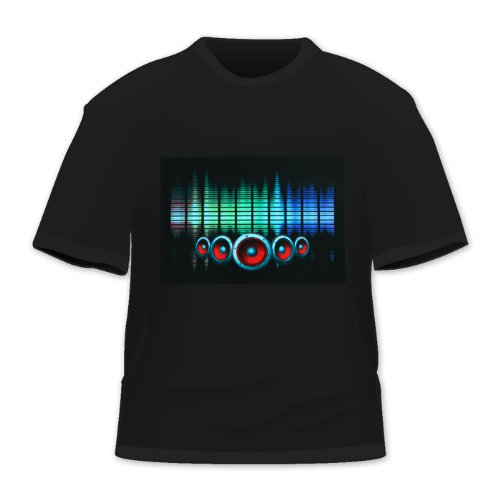 Hde Men'S Sound-Activated Led T-Shirt (Multicolor Speaker, Medium)
