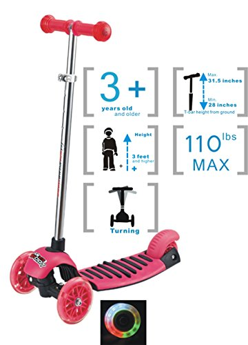 Voyage Kick Scooter for Kids, Tricycle Design,LED lights Up, Adjustable Height T-bar Handle for Girls (Pink, 3 Years Old and Older)