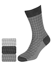 3 Pairs of Collezione Cotton Rich Tonal Square Socks