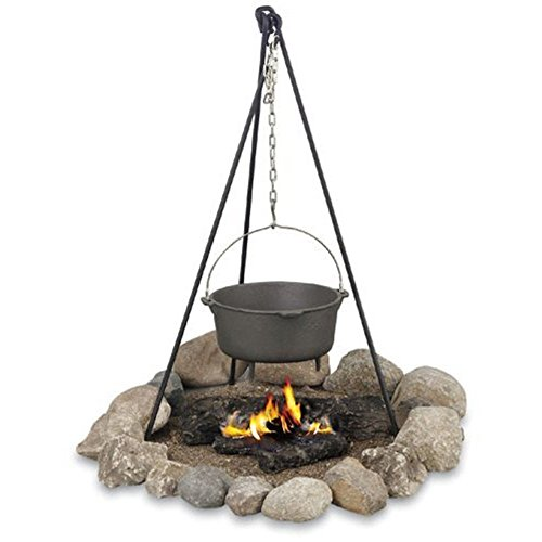 ChezMax Outdoor Ultra-light Hanging Pot Holder Campfire Cooking Tripod Campfire Grill Stand (Campfire Cooking Stand compare prices)