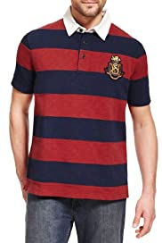 Blue Harbour Pure Cotton Cut & Sew Striped Polo Shirt [T28-6562B-S]