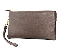 Humble Chic Women\'s Large Wristlet with Included Cross Body Strap - Gunmetal - Vegan Leather Crossbo