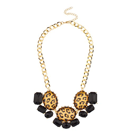 Lux Accessories Faceted Black Leopard Stone Statement Bib Necklace