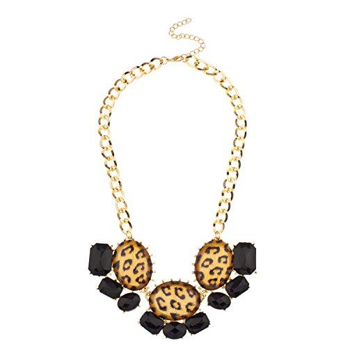 Lux Accessories Faceted Black Leopard Stone Statement Bib Necklace