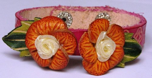 Flowers Brown-Orange/Yellowish On Pink Band All Hand Worked Leather Bracelet - Adjustable Size