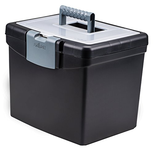 Storex Portable File Box, 10.88 x 13.25 x 11 Inches, Black (STX61504U01C)