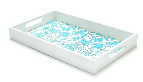 Decorative Serving Tray - Routed Handles for Easy Carrying to Bed and Patio or Serving Tea, Desert and Breakfast - Elegant and Classy