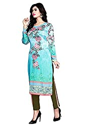 Justkartit Women's Sea Blue & Green Colour Beautiful Floral Printed Salwar Kameez / Stylish Party Wear Salwar Suit Set / Smart Workwear Salwar Kameez (Office Wear Salwar Kameez)