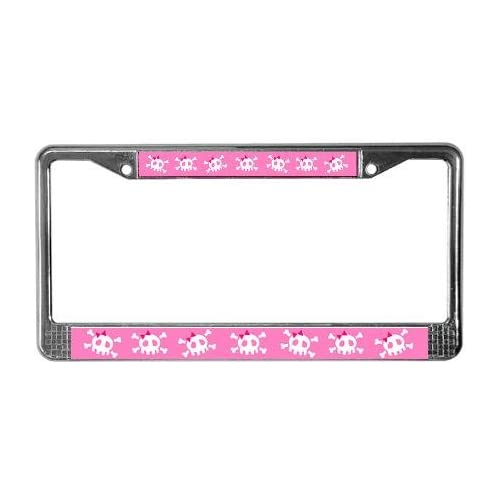 Pink Skull Funny License Plate Frame by