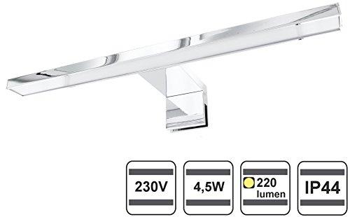 Lampada da Specchio, a LED, in alluminio, IP44, da bagno, 230 V - 4,5 W, 220 lm Leuchte warmweiß