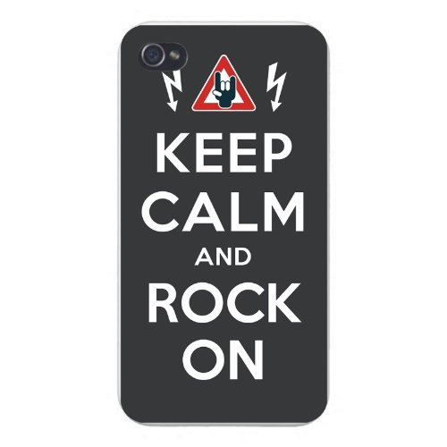 """Apple Iphone Custom Case 4 4S Snap On - """"Keep Calm And Rock On"""" W/ Electric Shock Warning Sign"""
