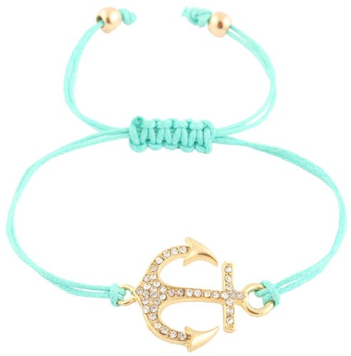 Ladies Mint  Gold Iced Out Anchor Adjustable