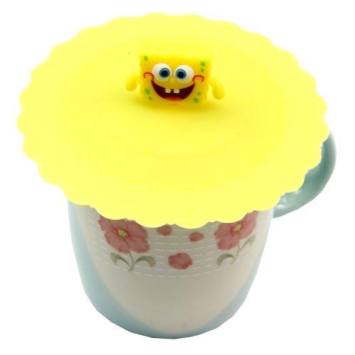 Estone Cute Anti-dust Silicone Glass Cup Cover Coffee Mug Suction Seal Lid Cap Cartoon (SpongeBob) (Spongebob Coffee Cup compare prices)