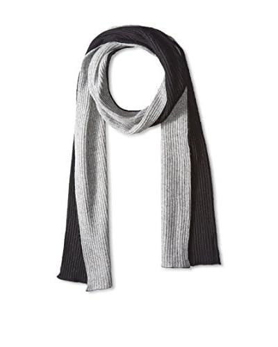 Portolano Men's Merino 2-Tone Solid Knit Scarf, Black/Light Heather Grey