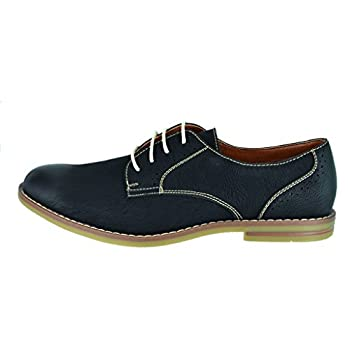 FERRO ALDO Men's Simple Perforated Oxford Contrast Stitching Lace Up Round Toe Dress Shoes