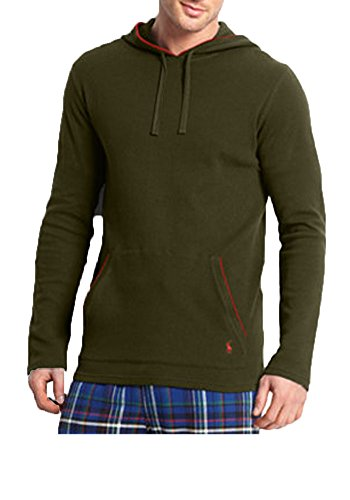 Polo Ralph Lauren Mens Loungewear Tipped Thermal Hoodie Olive Green Small (Ralph Lauren Thermal Hoodie compare prices)