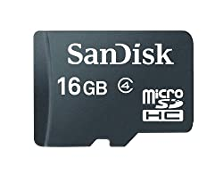 Sandisk 16GB MicroSDHC Memory Card, Class 4 (RETAIL PACKAGE)