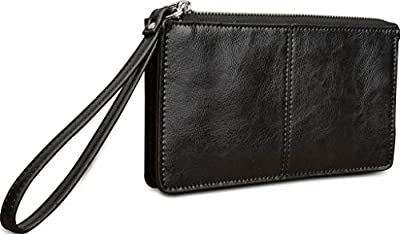 Yahoho Women's Genuine Leather Clutch Wallet with Wrist Strap Fit Iphone6 Plus / Samsung Galaxy S4 (Gift Box)