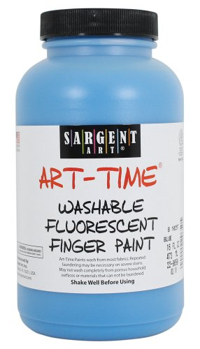 Sargent Art 22-9650 16-Ounce Art Time Washable Fluorescent Finger Paint, Blue