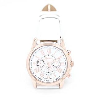 Amonfineshop(TM) Neue Damenmode Genf römischen Ziffern-Leder Analog Quarz Armbanduhren