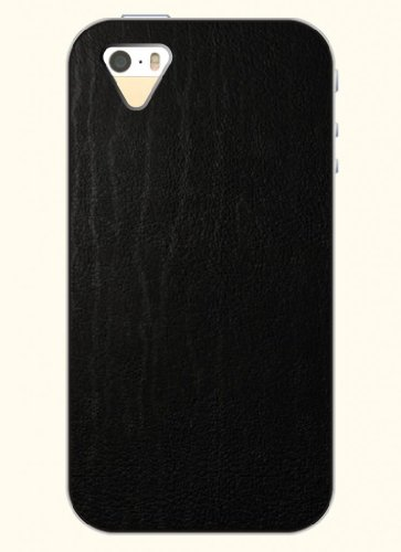 Oofit Phone Case Design With Black Leather Striae Pattern For Apple Iphone 4 4S 4G front-320873