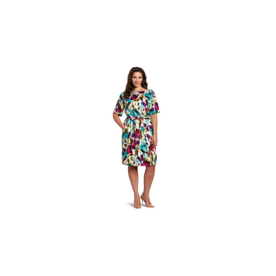 Jessica Howard Womens Plus Size Floral Blouson Dress, Multi, 14W